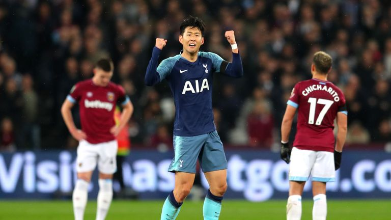 Heung-Min Son of Tottenham Hotspur celebrates after scoring his team's first goal during the Carabao Cup Fourth Round match between West Ham United and Tottenham Hotspur at London Stadium on October 31, 2018 in London, England