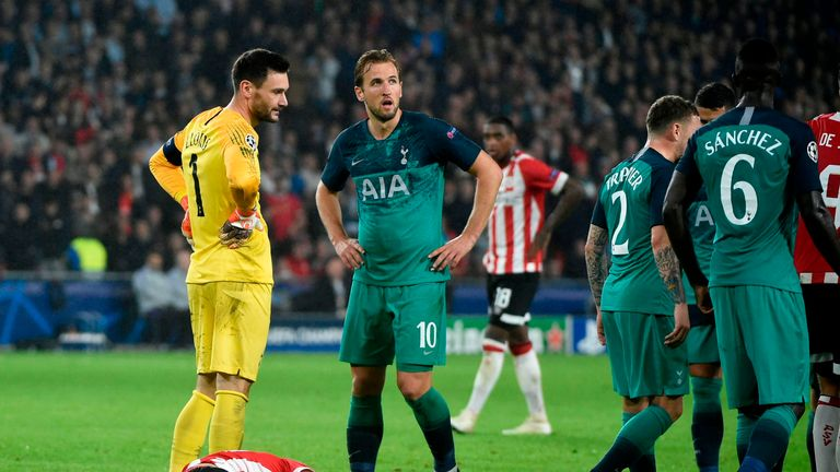 Lloris and Harry Kane show their frustration