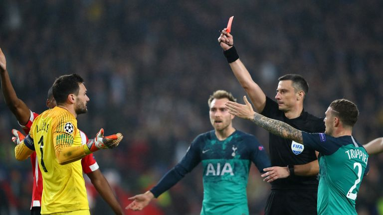 Hugo Lloris was shown a red card for Tottenham against PSV