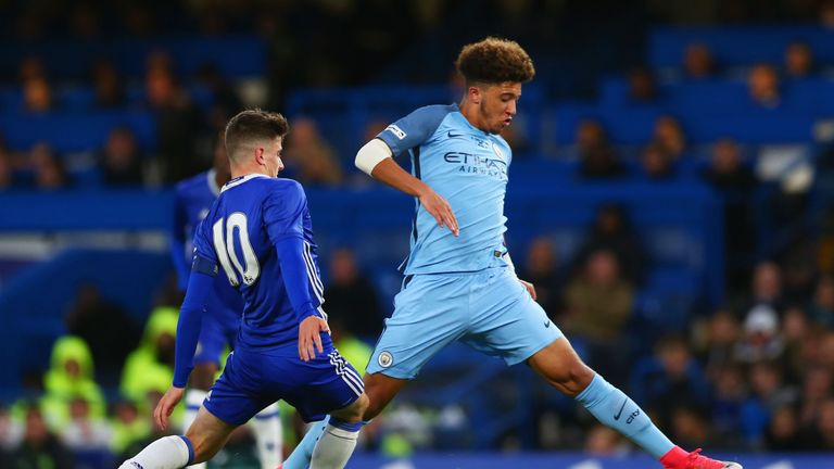Jadon Sancho in action during the 2017 FA Youth Cup final
