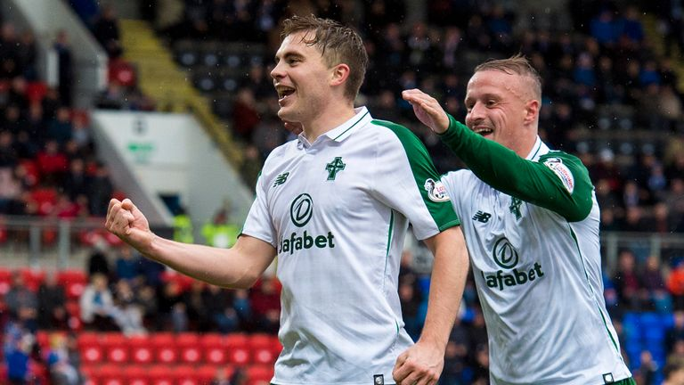 James Forrest celebrates scoring for Celtic
