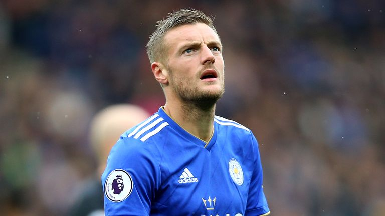 Jamie Vardy will be part of an unchanged Leicester squad against Everton on Saturday