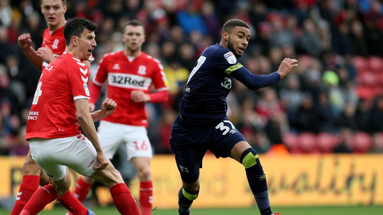 """Middlesbrough's Daniel Ayala fouls Derby County's Jayden Bogle during the Sky Bet Championship match at The Riverside Stadium, Middlesbrough. PRESS ASSOCIATION Photo. Picture date: Saturday October 27, 2018. See PA story SOCCER Middlesbrough. Photo credit should read: Richard Sellers/PA Wire. RESTRICTIONS: EDITORIAL USE ONLY No use with unauthorised audio, video, data, fixture lists, club/league logos or """"live"""" services. Online in-match use limited to 120 images, no video emulation. No use in betting, games or single club/league/player publications."""