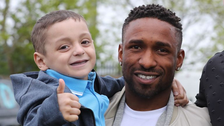 Jermain Defoe and Bradley Lowery became close friends when Defoe was still playing for Sunderland
