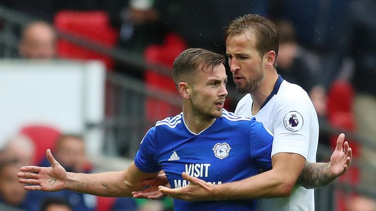 Harry Kane was booked after an altercation with Joe Ralls following his foul on Lucas Moura