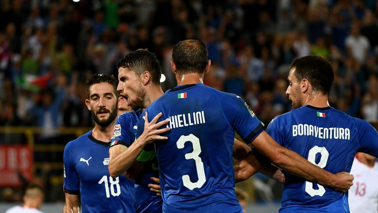 Jorginho of Italy celebrates after scoring the first goal during the UEFA Nations League A group three match between Italy and Poland at Stadio Renato Dall'Ara on September 7, 2018 in Bologna, Italy