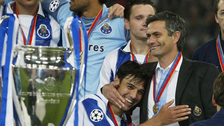 Mourinho celebrates Porto's Champions League win before removing his medal
