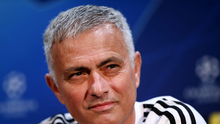 Jose Mourinho ahead of their UEFA Champions League Group H match against Juventus at Aon Training Complex on October 22, 2018 in Manchester, England.
