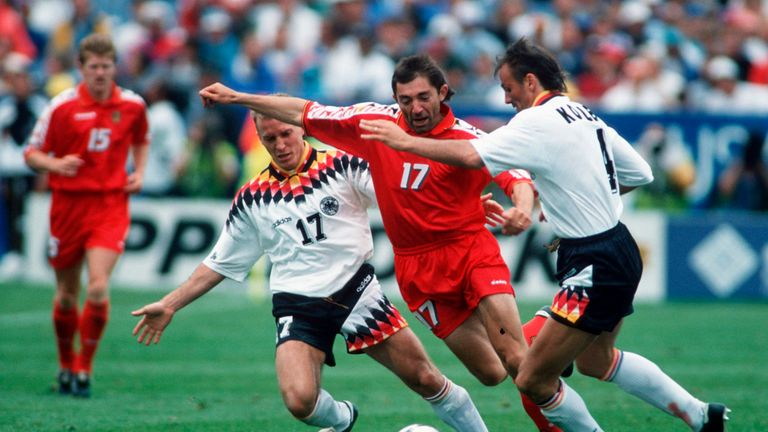 CHICAGO, UNITED STATES - JULY 02:  Martin Wagner of Germany and Josip Weber of Belgium and Juergen Kohler of Germany in action during the World Cup eighth final match between Germany and Belgium on July 02, 1994 in Chicago, United States...(Photo by Beate Mueller/Bongarts/Getty Images) *** Local Caption *** Martin Wagner;Josip Weber;Juergen Kohler
