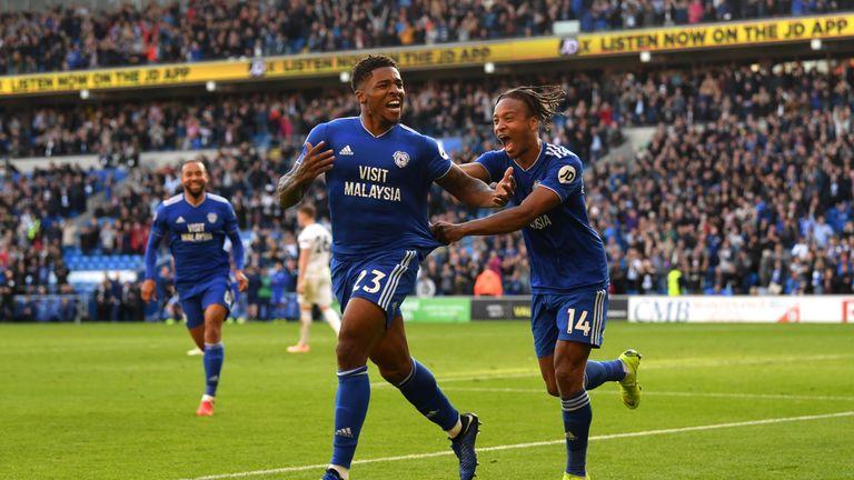 Kadeem Harris (left) celebrates with Bobby Reid after scoring Cardiff's fourth goal