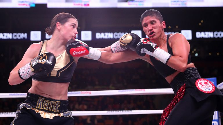 October 20, 2018; Boston, MA, USA; WBA/IBF women's lightweight champion Katie Taylor and Cindy Serrano during their bout at the TD Garden in Boston, MA. Mandatory Credit: Ed Mulholland/Matchroom Boxing USA