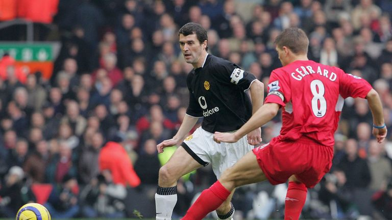 Roy Keane of Manchester United clashes with Steven Gerrard of Liverpool during the Barclays Premiership match between Liverpool and Manchester United at Anfield on January 15, 2005
