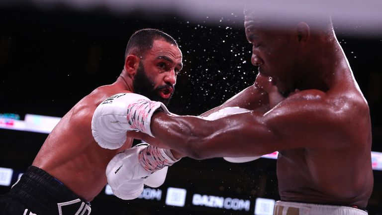 October 20, 2018; Boston, MA, USA; Kid Galahad and Toka Kahn Clary during their bout at the TD Garden in Boston, MA. Mandatory Credit: Ed Mulholland/Matchroom Boxing USA