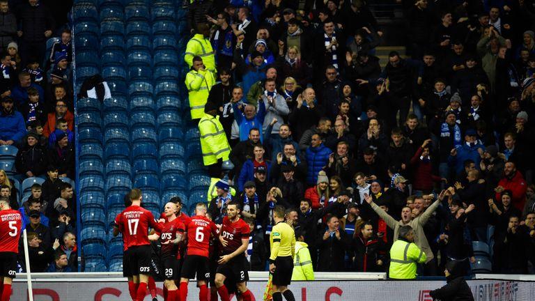 Kilmarnock's Greg Stewart celebrates after making it 1-1 v Rangers, Scottish Premiership