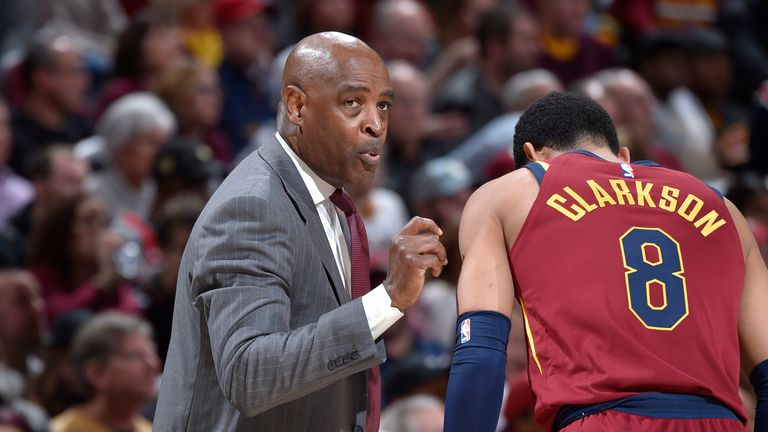 Larry Drew interim head coach for the Cleveland Cavaliers talks to Jordan Clarkson #8 of the Cleveland Cavaliers during the game against the Toronto Raptors on March 21, 2018 at Quicken Loans Arena in Cleveland, Ohio.