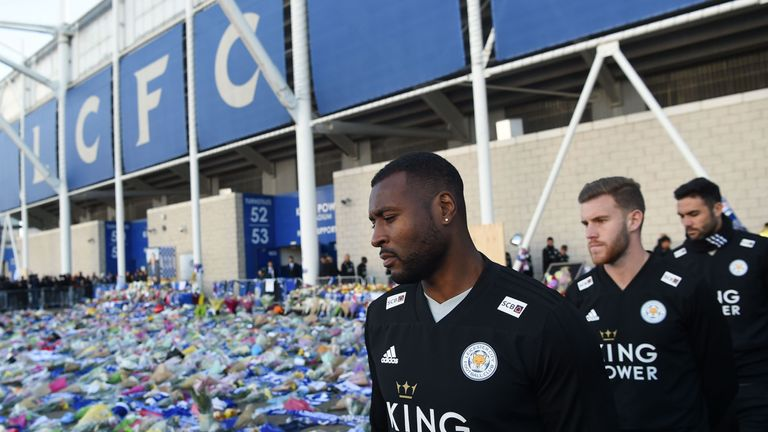 Leicester City captain Wes Morgan arrives to pay his respects to owner Vichai Srivaddhanaprabha who died when his helicopter crashed outside the King Power Stadium on Saturday evening