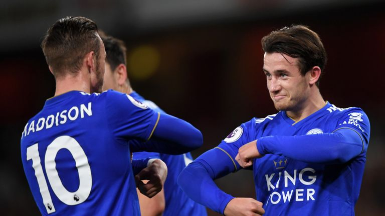 Ben Chilwell celebrates with James Maddison after Leicester's opening goal