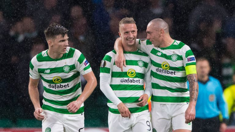 Celtic's Leigh Griffiths' is congratulated by team-mate Scott Brown during the Europa League, Group B match against Rosenborg