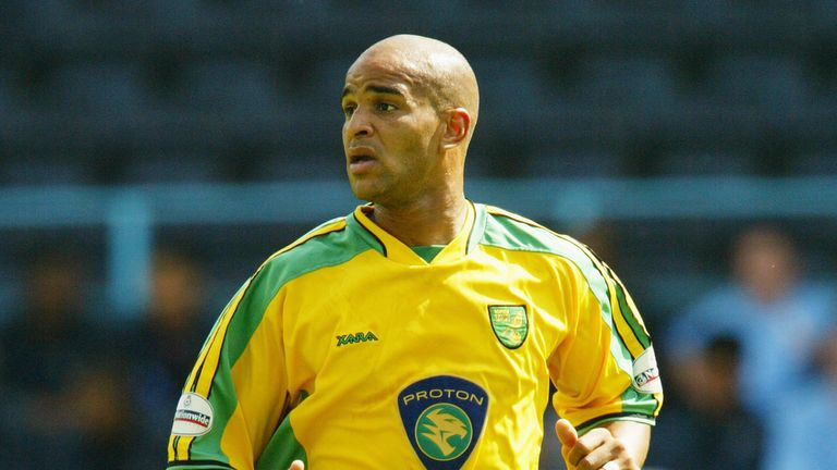 Leon McKenzie in action for Norwich City during a pre-season friendly against Coventry City at Highfield Road in 2004