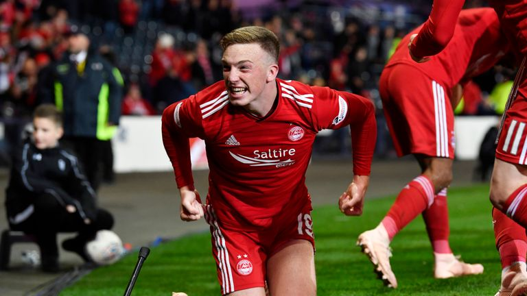 Aberdeen's Lewis Ferguson celebrates after scoring the winner against Rangers in their League Cup semi-final on Sunday