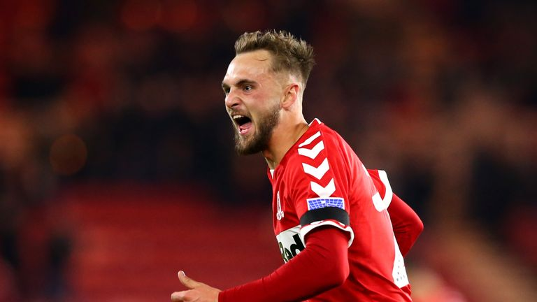 Middlesbrough's Lewis Wing celebrates his winner against Palace