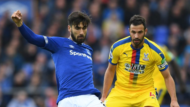 Crystal Palace captain Luka Milivojevic in action against Everton at Goodison Park.