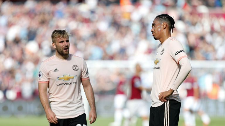 Luke Shaw and Chris Smalling dejected after Manchester United's defeat at West Ham