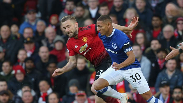 Luke Shaw battles with Richarlison in the first half