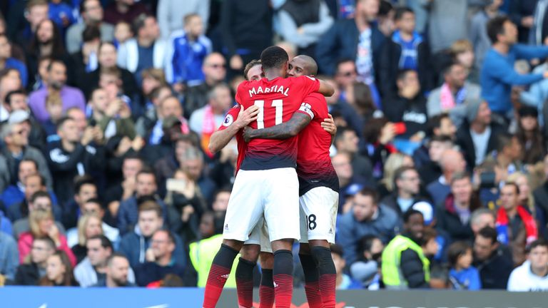 Anthony Martial celebrates his second Manchester United goal at Chelsea - and his third in his last two games