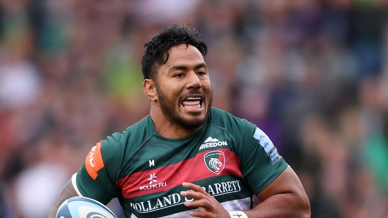 Manu Tuilagi breaks away to score a first-half try for Leicester Tigers during the Gallagher Premiership against Newcastle Falcons
