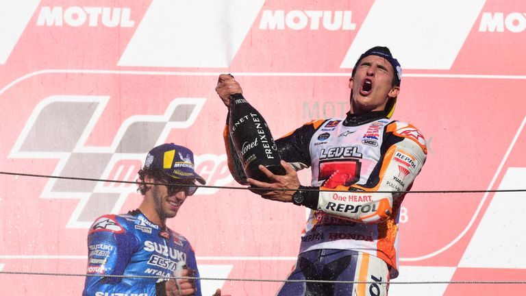 Marquez celebrates in style
