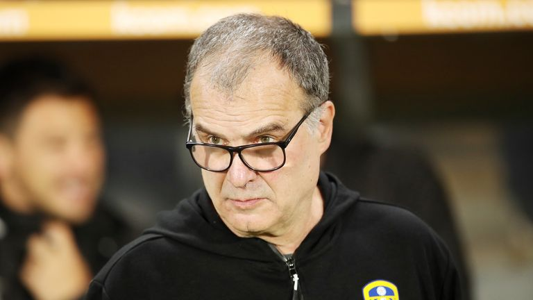 Leeds United manager Marcelo Bielsa during the Sky Bet Championship match at the KC Stadium, Hull.