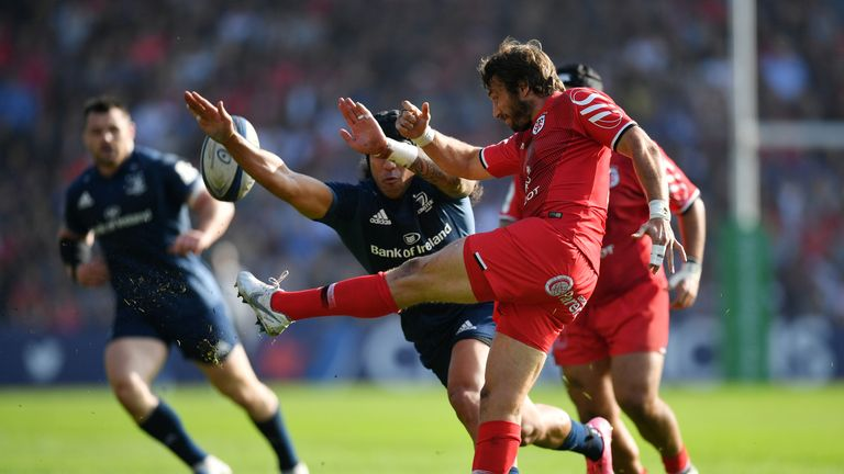 Maxime Medard clears under pressure from Leinster's Joe Tomane
