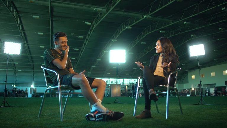 Mesut Ozil was speaking to Sky Sports' Alex Scott