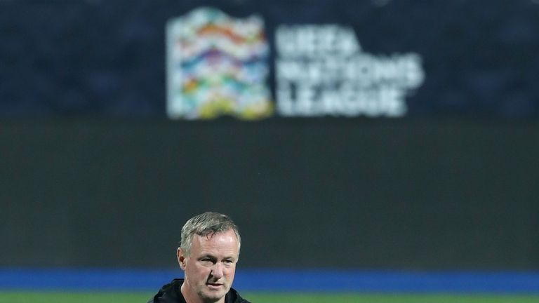 Northern Ireland manager Michael O'Neill during training in Sarajevo ahead of Bosnia and Herzegovina