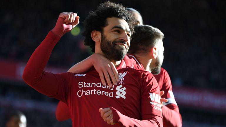 Mohamed Salah celebrates his goal against Cardiff City