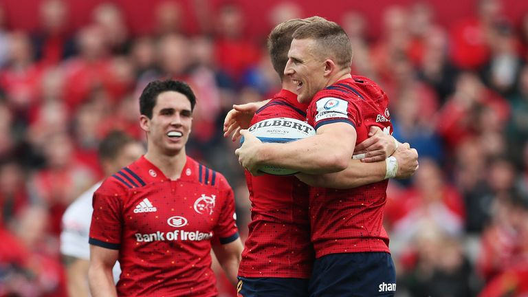 Munster scored five tries as they saw off 14-man Gloucester in Limerick