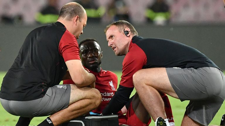 Naby Keita went off injured early against Napoli