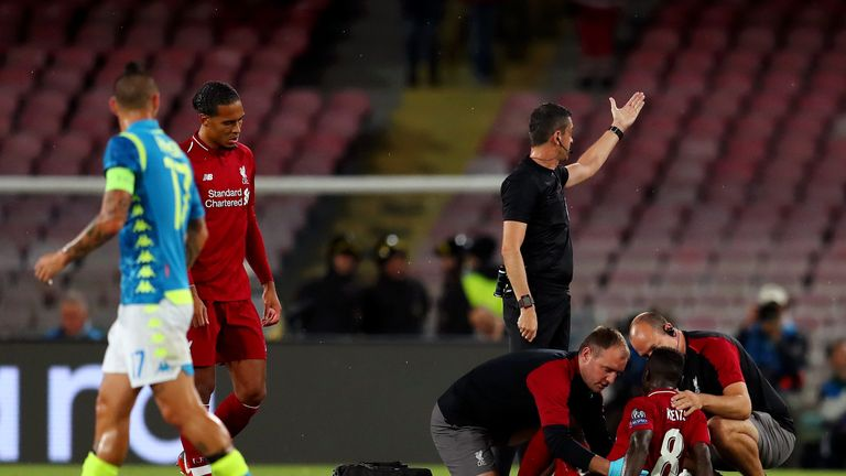 Naby Keita went off injured early in Liverpool's defeat in Naples