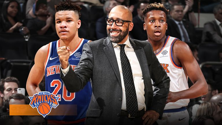 Kevin Knox, David Fizdale and Frank Ntilikina of the Knicks