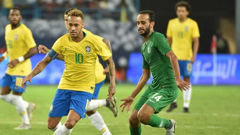 Neymar is tracked during Brazil's friendly against Saudi Arabia