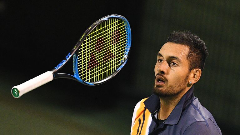 Nick Kyrgios' efforts during his first-round defeat at the Shanghai Masters were called into question