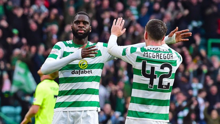 Celtic's Odsonne Edouard celebrates with Callum McGregor after he makes it 4-2