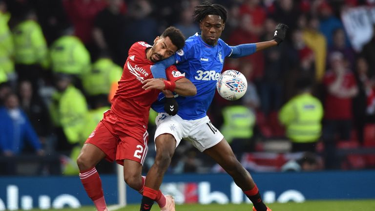 Aberdeen's Shay Logan (L) competes with Rangers' Ovie Ejaria