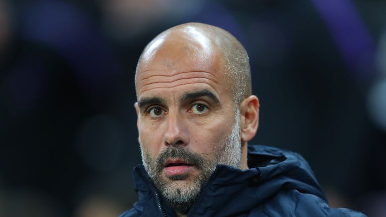Pep Guardiola during the Premier League match between Tottenham Hotspur and Manchester City at Wembley Stadium on October 29, 2018 in London, United Kingdom.