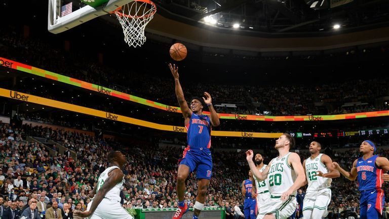 Stanley Johnson #7 of the Detroit Pistons drives to the basket and shoots the ball against the Boston Celtics on October 30, 2018 at the TD Garden in Boston, Massachusetts.