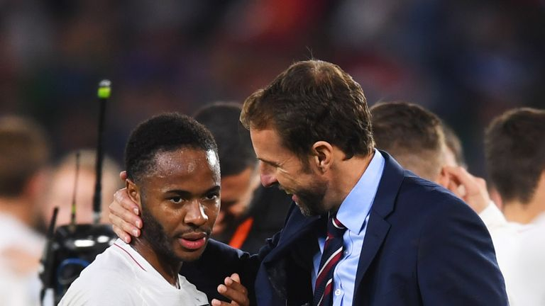 Gareth Southgate and Raheem Sterling following England's 3-2 win over Spain the UEFA Nations League