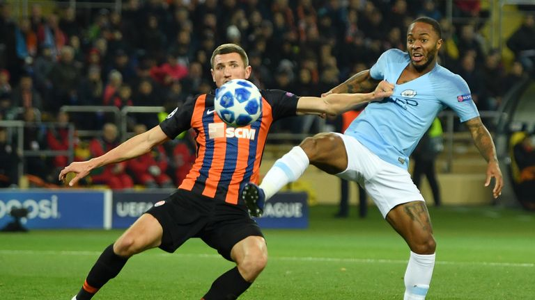 during the Group F match of the UEFA Champions League between FC Shakhtar Donetsk and Manchester City at Metalist Stadium on October 23, 2018 in Kharkov, Ukraine.