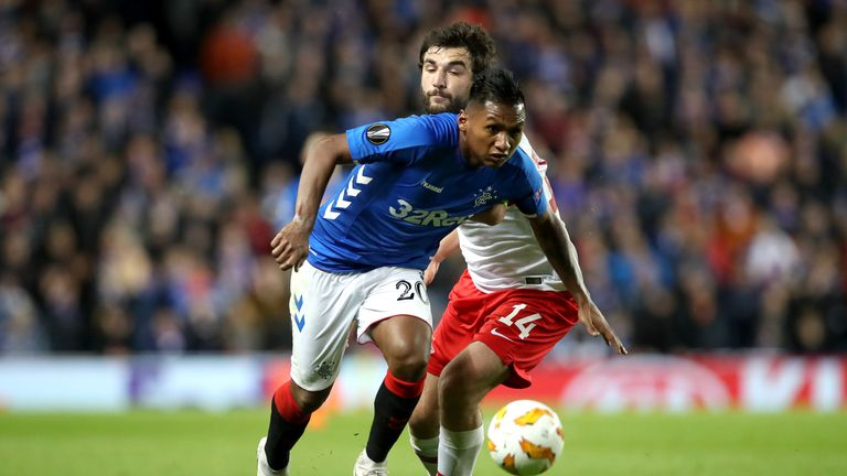 during the UEFA Europa League Group G match between Rangers and Spartak Moscow at Ibrox Stadium on October 25, 2018 in Glasgow, United Kingdom.