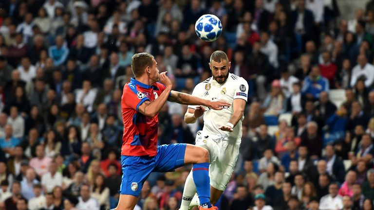 during the Group G match of the UEFA Champions League between Real Madrid  and Viktoria Plzen at Bernabeu on October 23, 2018 in Madrid, Spain.